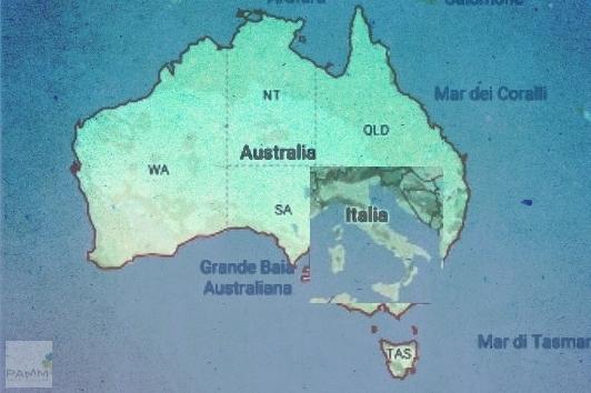 Viaggiare in Australia dimensione rispetto Italia